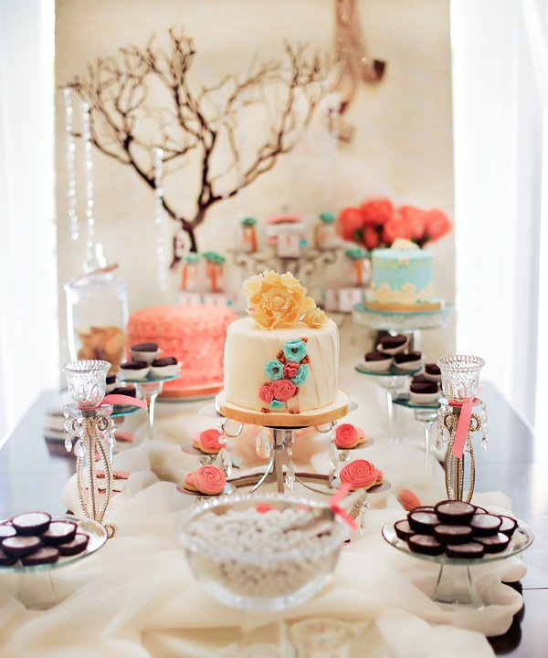 Pink and Blue Vintage Style Baby Shower Dessert Table