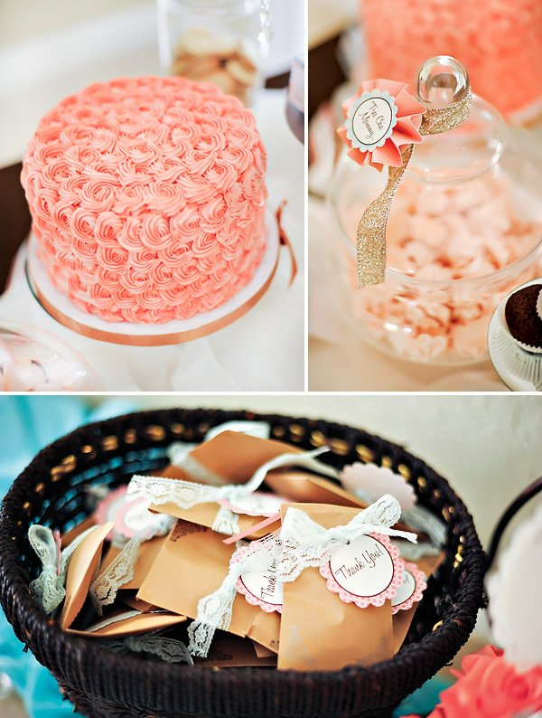 pink ruffle cake and vintage lace baby shower favors