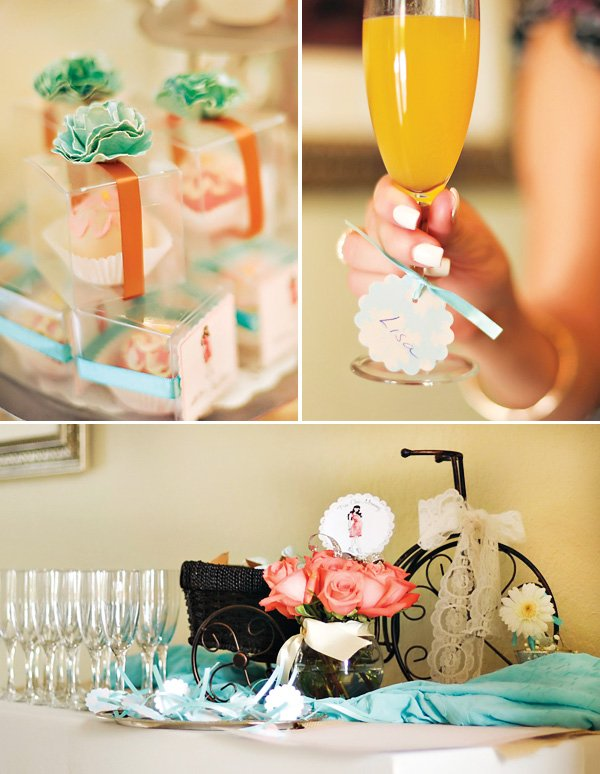 vintage baby shower party favors, cocktails, and drink station