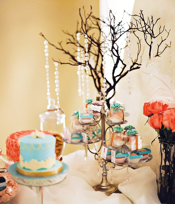 Pink and Blue Vintage glam Baby Shower Dessert stand with crystals