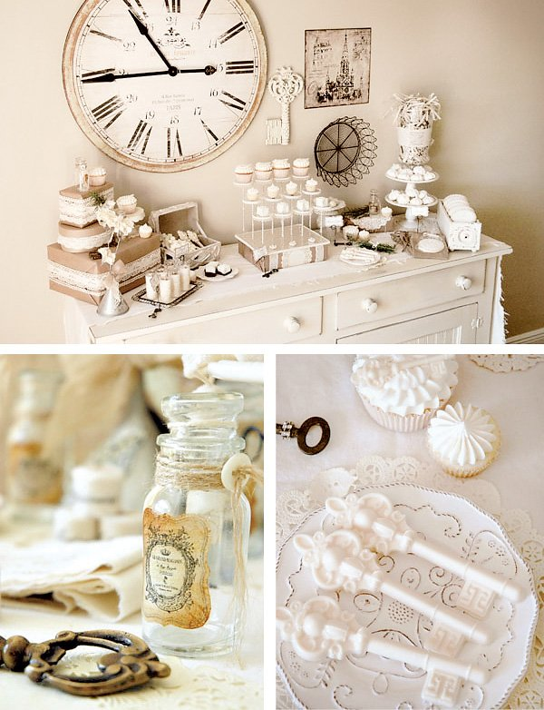 vintage winter wonderland dessert table