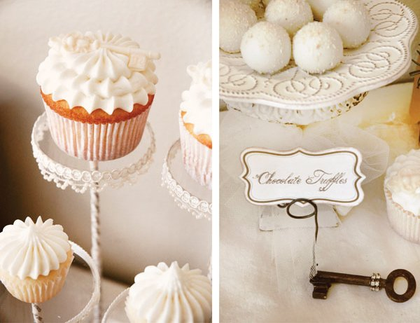 white winter cupcakes on acrylic pastry pedestals