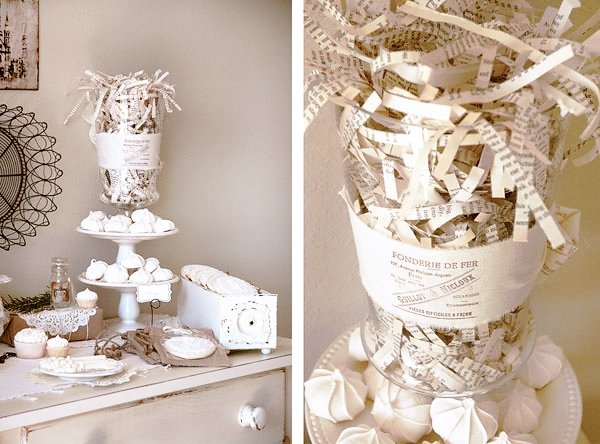 vintage french dessert table paper centerpiece