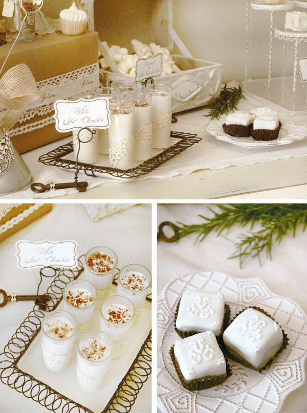 white hot chocolate shooters on a winter wonderland dessert table