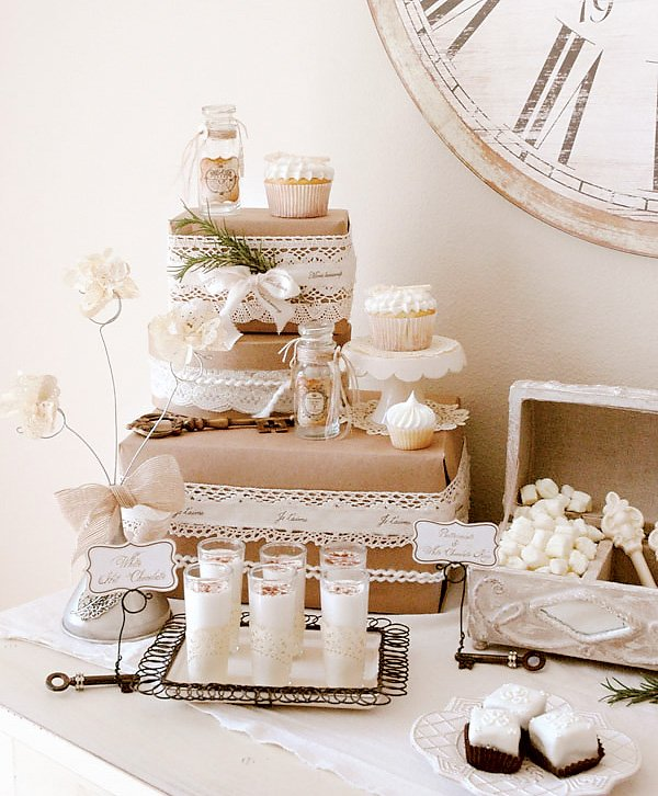 white winter dessert table - white hot chocolate and vintage key cupcakes
