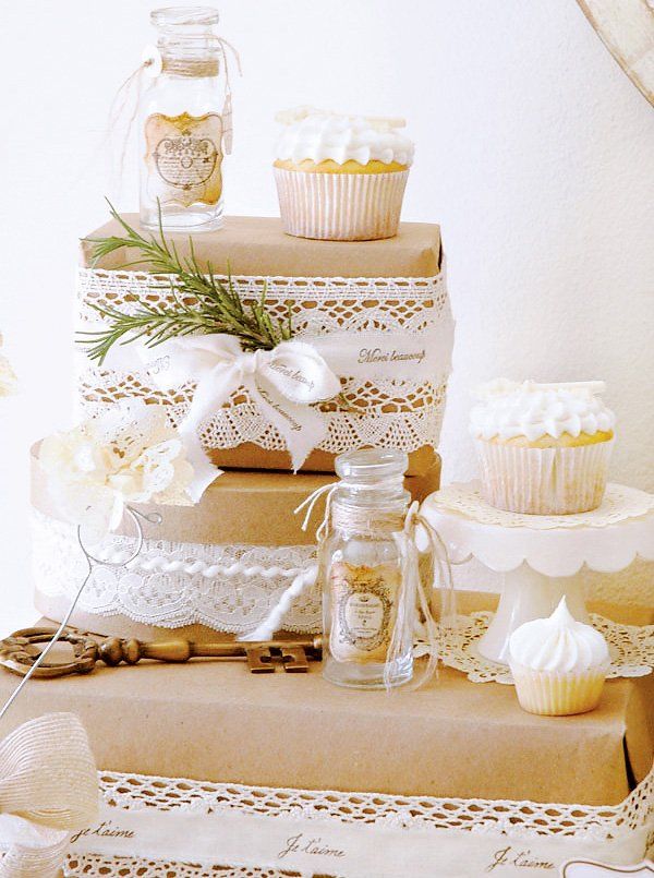 vintage winter dessert table jars and cupcakes