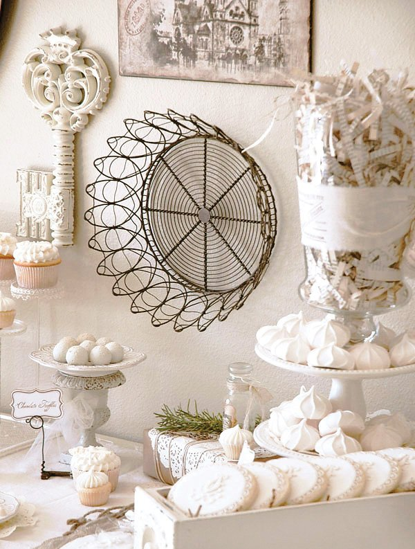 vintage french white winter dessert table with white skeleton key