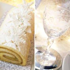 Winter Wonderland White Yule Log Cake