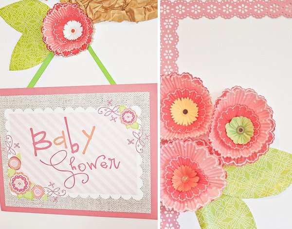 Pink Flower Baby Shower Sign with cupcake liner flowers