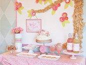 Pink Flower Baby Shower Dessert Table
