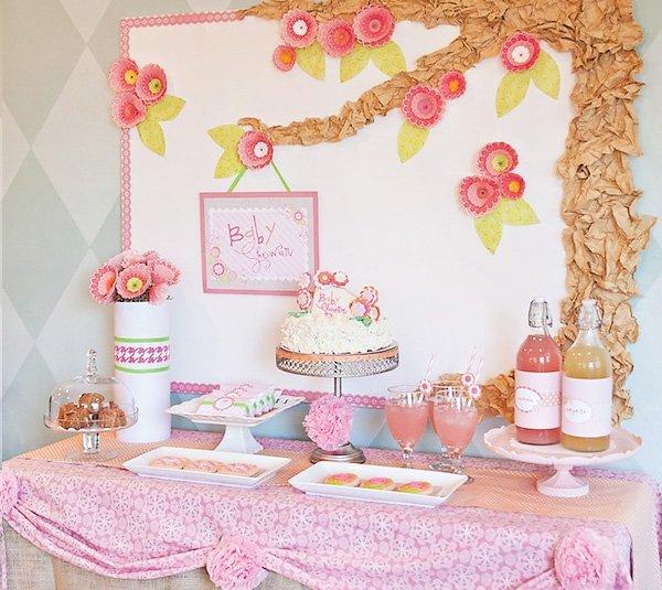 Pink Flower Baby Shower Dessert Table