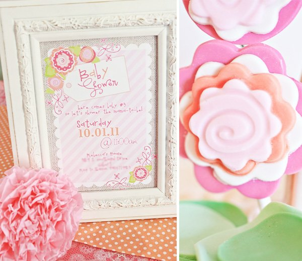 Pink Flower Baby Shower invitations and fondant flowers