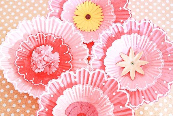 Pink Flower Baby Shower Dessert cupcake liner pins