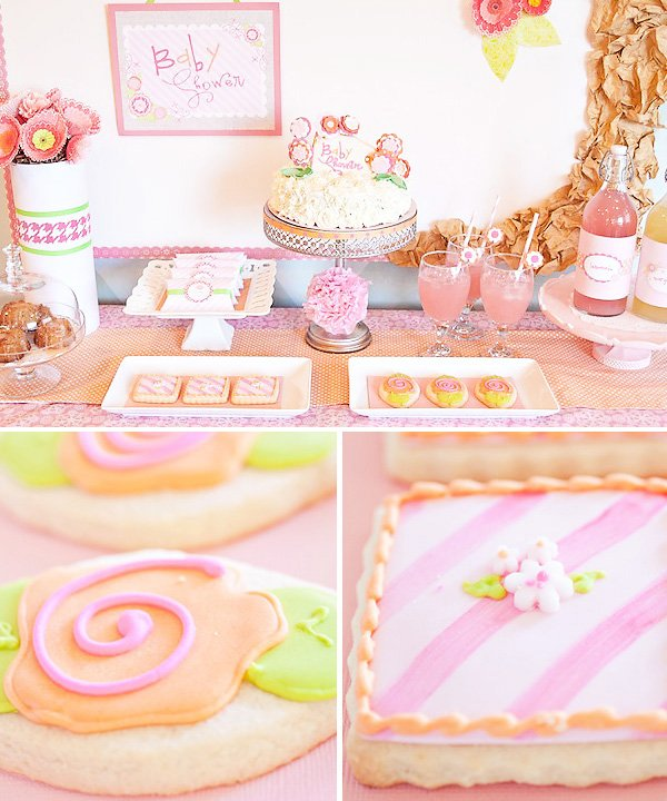 pink flower baby shower dessert table and sugar cookies