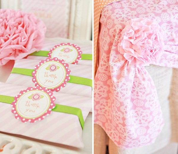 Pink Flower Baby Shower Party Favor Boxes and tissue flower detail