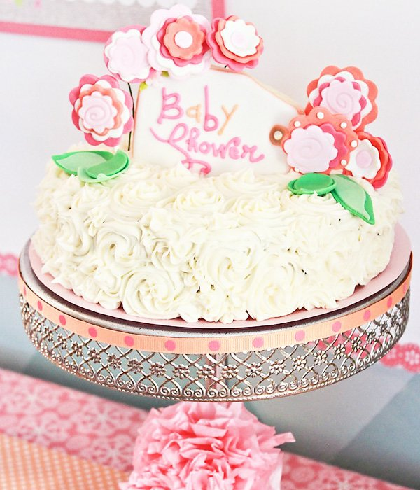 Pink Flower Baby Shower Ruffle Cake with sugar cookies
