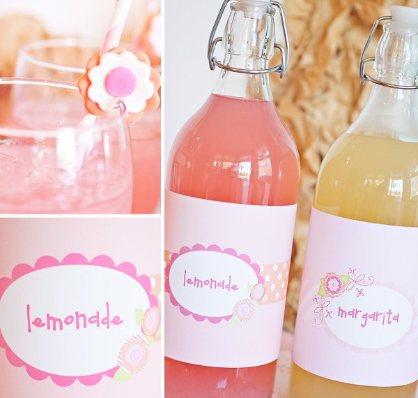 lemonade and margarita mix with custom pink flower labels