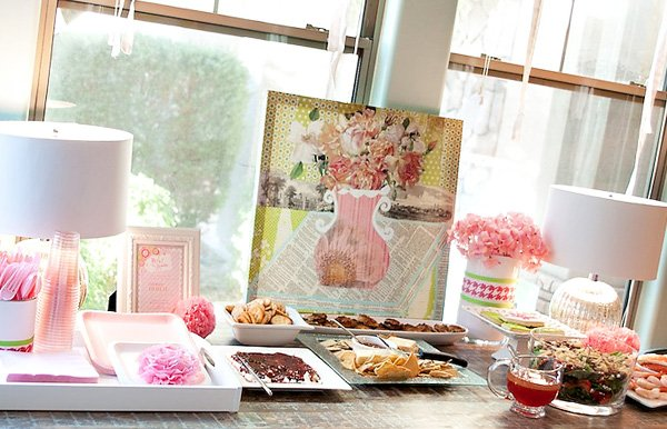 Pink Flower Baby Shower appetizers with flower painting backdrop