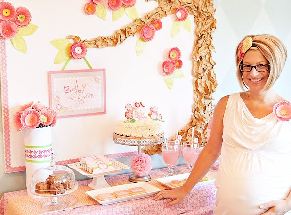 Pink Flower Baby Shower Dessert Table shot with mom-to-be Rebecca Propes