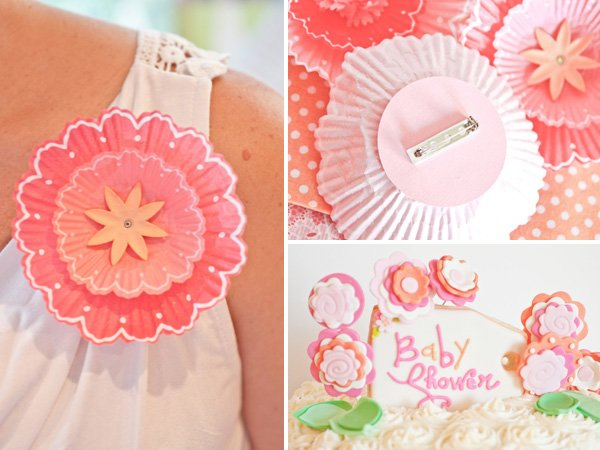pink flower pins made from cupcake liners