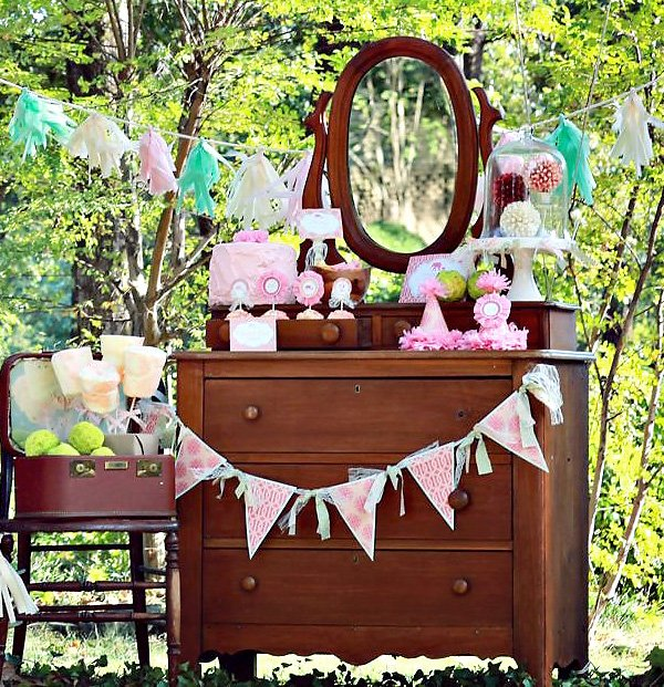 vintage pink elephant party dessert buffet