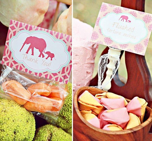 vintage pink elephant party desserts