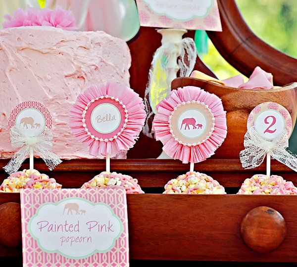 vintage pink elephant party cupcake toppers