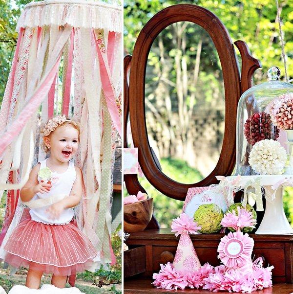 pink ribbon birthday canopy