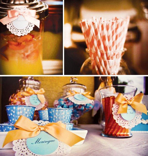 orange and blue dessert table + orange stripey straws
