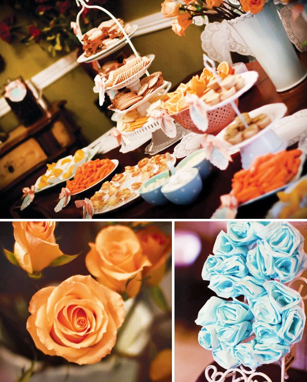 vintage birthday party buffet and tissue pom