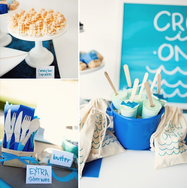 surf themed birthday party cupcakes & desserts + dipped utensils