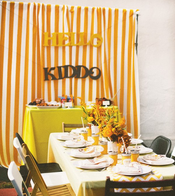 hello kiddo yellow chevron baby shower