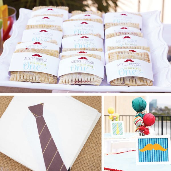 Strawberry Pies, Tie Napkins and Table Centerpieces