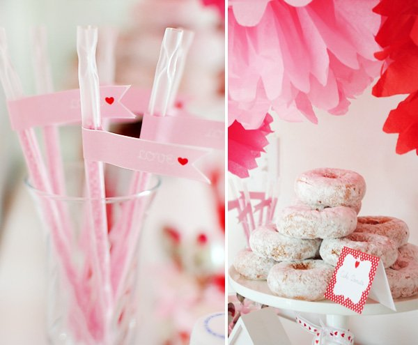 pink and red Valentine's Day Straws and powdered donuts