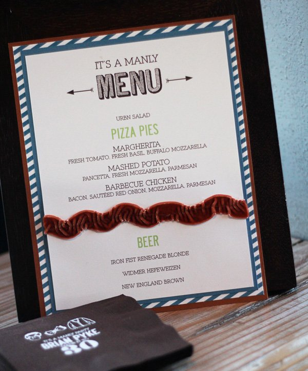 manly 30th birthday party menu