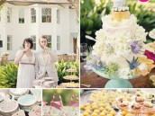 southern wedding cake and flowers