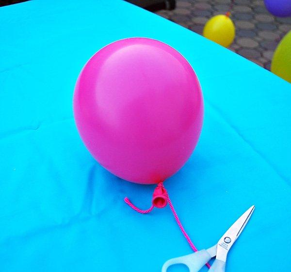 balloons and yarn