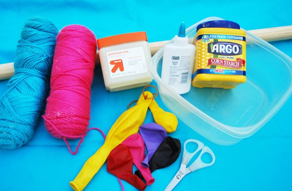 materials for DIY yarn ball chandelier