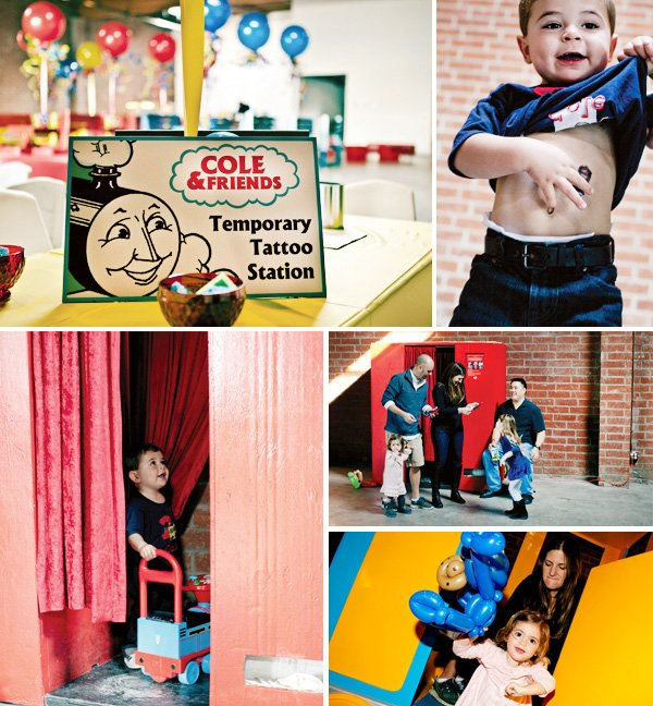 coles party train temporary tattoos and photo booth activity stations