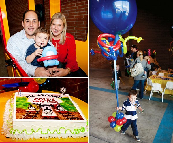 coles party train birthday boy with his parents and carrying the table centerpiece