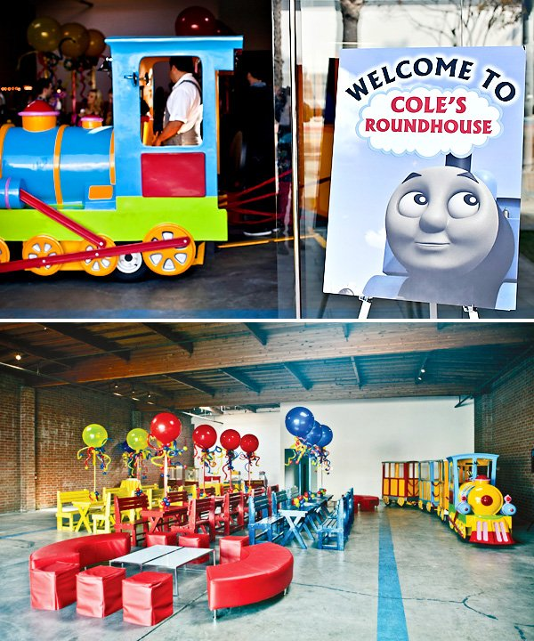 coles party train room decor and entrance view
