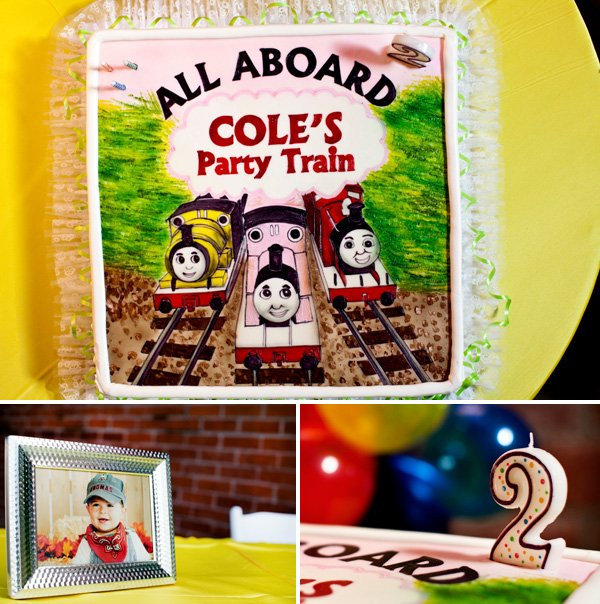 coles party train cake with number candle and picture frame decorations