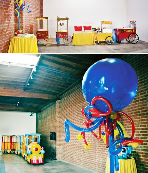 coles party train room setup with carnival food, balloons and a train everyone could ride.