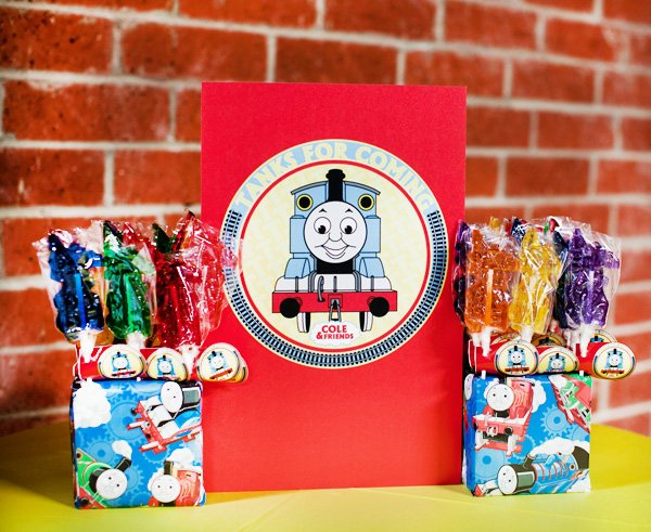 coles party train rock candy party favors