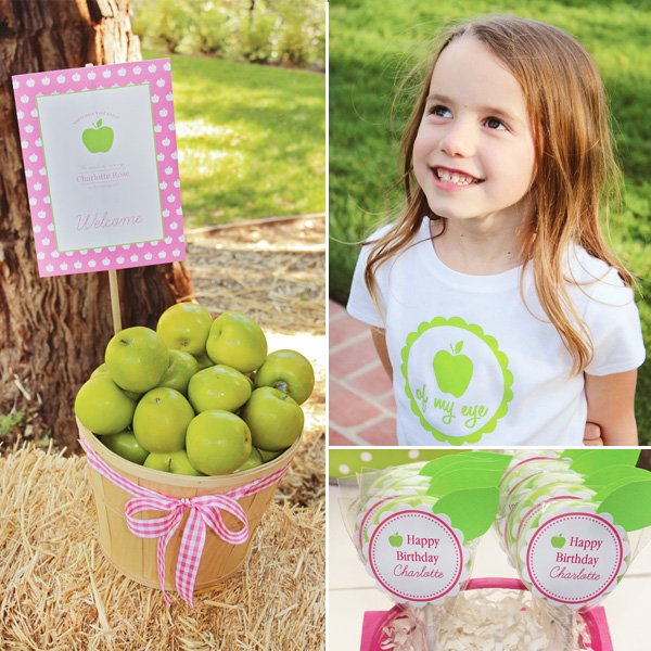 Apple of my Eye Birthday Party Basket of Apples and T-Shirt