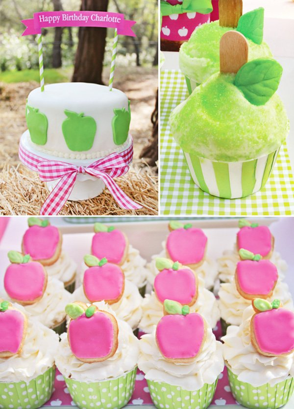 Charlottes Apple of My Eye Party Cake and Cupcakes