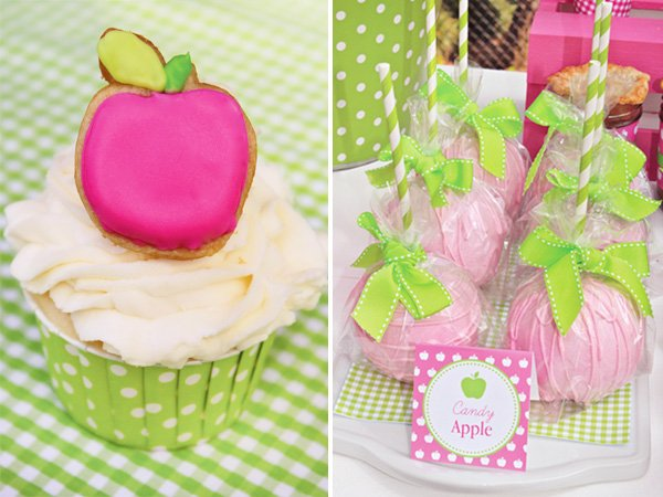 Apple of My Eye Party Cupcake and Candy Apples