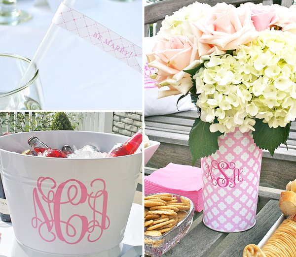 Pink Roses and White Hydrangea bridal shower centerpiece