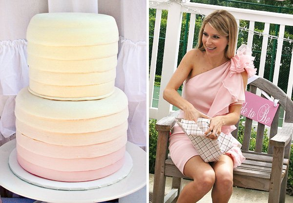 Pink Bridal Shower - Ombre Ruffle Cake and Monogram Drink Bucket