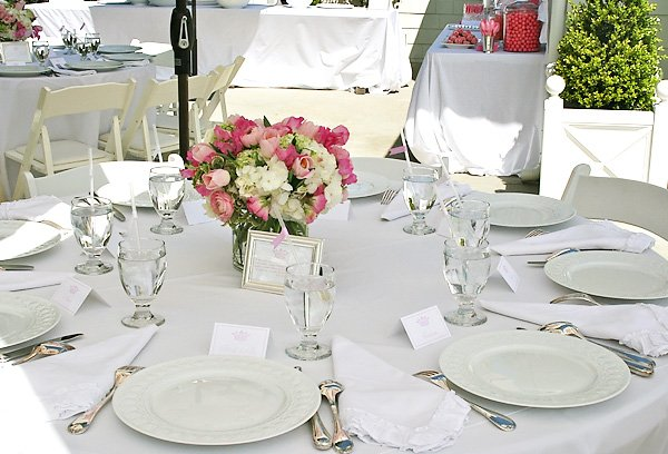 Bridal Shower Table with Pink & White Centerpiece